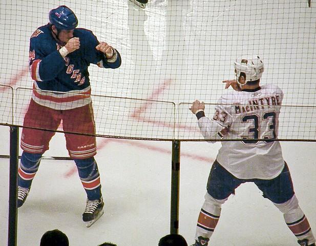 Ice Hockey players Derek Boogard vs. Steve Macintyre
