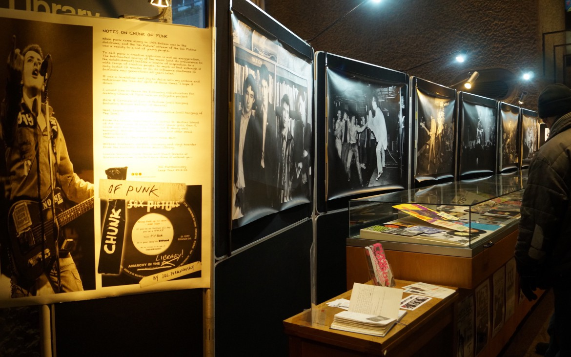 One of the displays showcasing images of Joe Strummer among others.