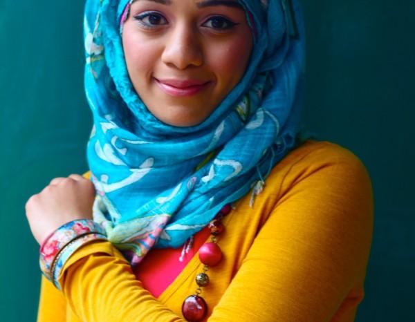 Woman in London wearing a headscarf