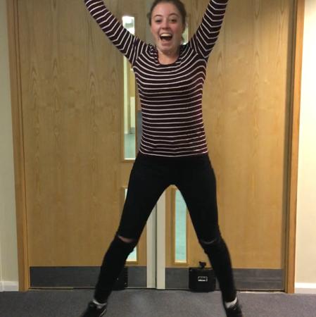 Jumping for joy outside the Amersham Neuro-Rehab Unit  [Holly Allright]