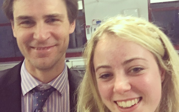 Holly after being give the all clear after her angiogram, featuring her brain surgeon! [Holly Allright]