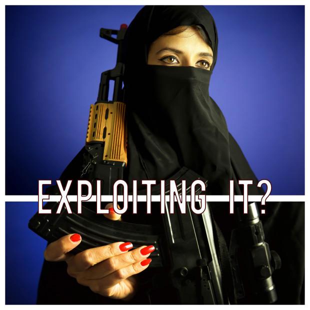 Woman in a burka with a gun