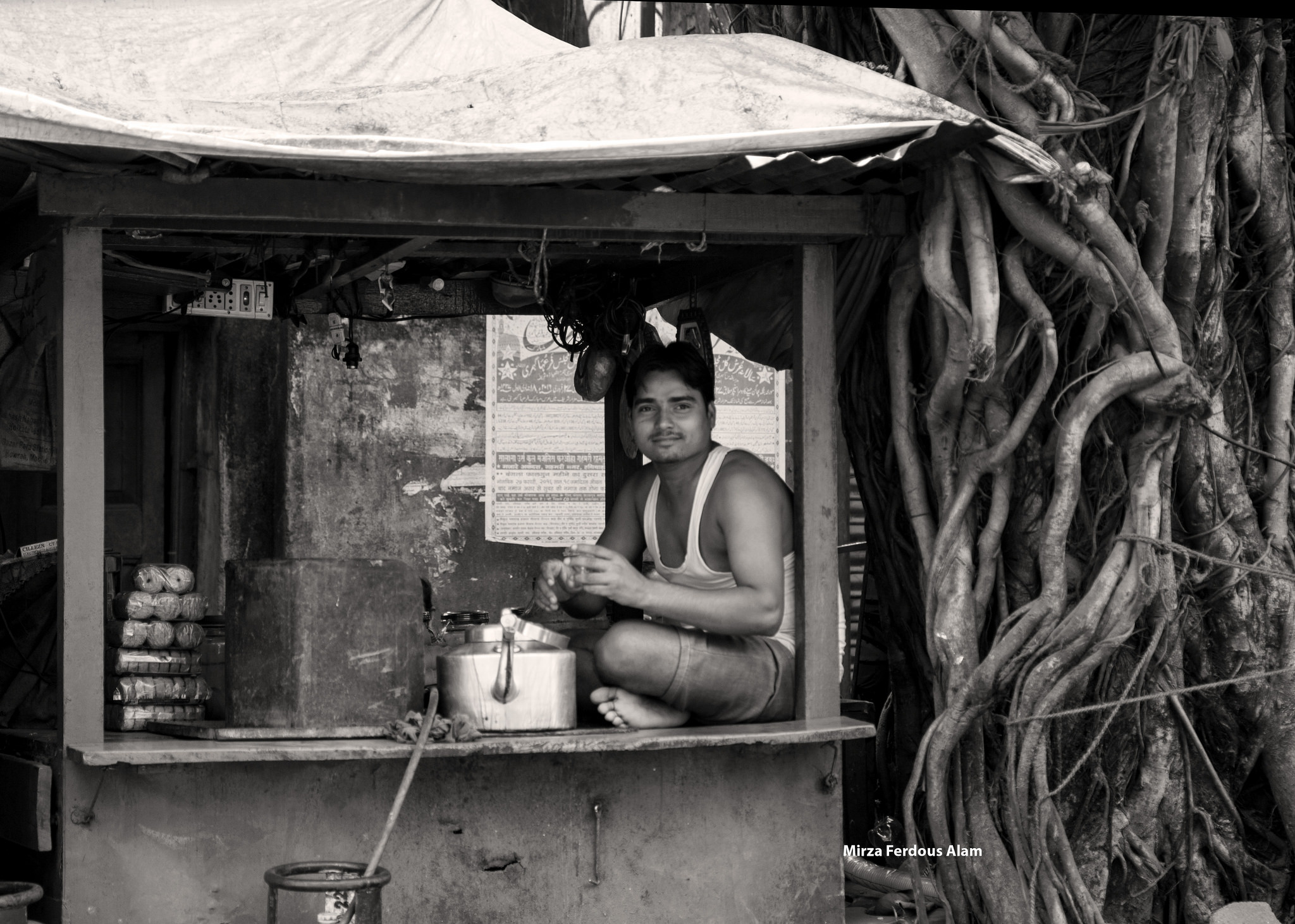 A chaiwalla selling chai in India