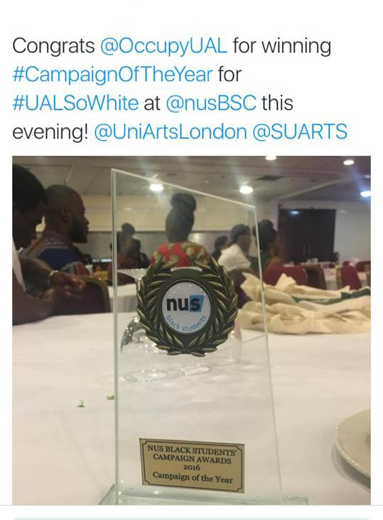 UAL so White award from an SUARTS event