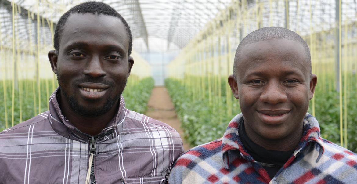 Two migrants who found work on a farm in Catalunya