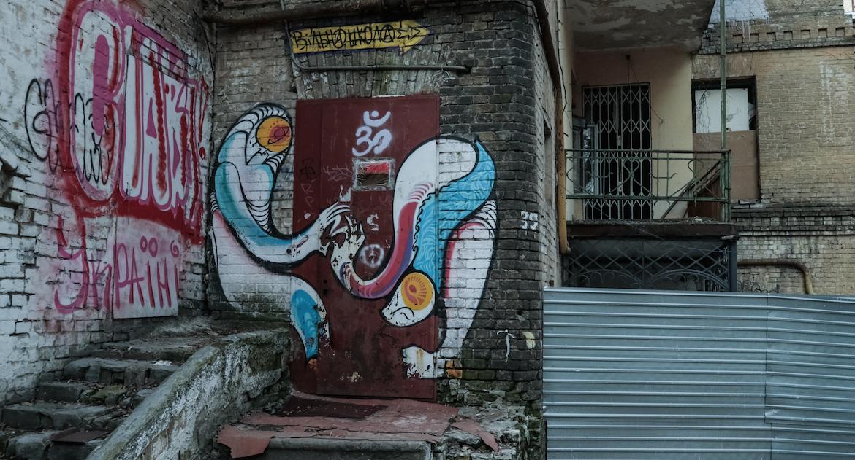 Graffiti alongs the walls in Ukraine