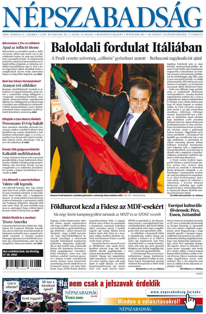 Népszabadság front page