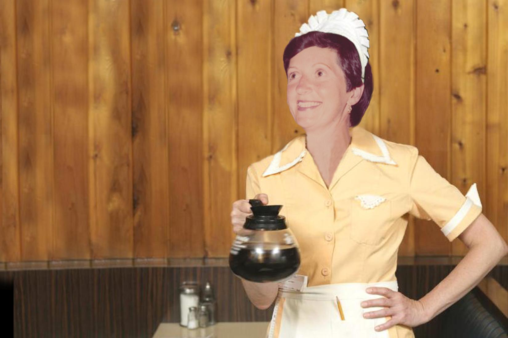 Waitress with coffee.