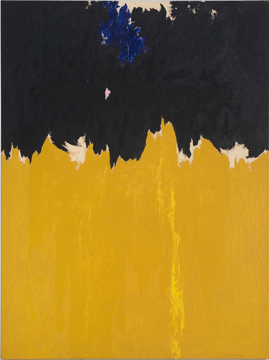 Painting by Clyfford Still using yellow, black and leaving the colour of the canvas in sections