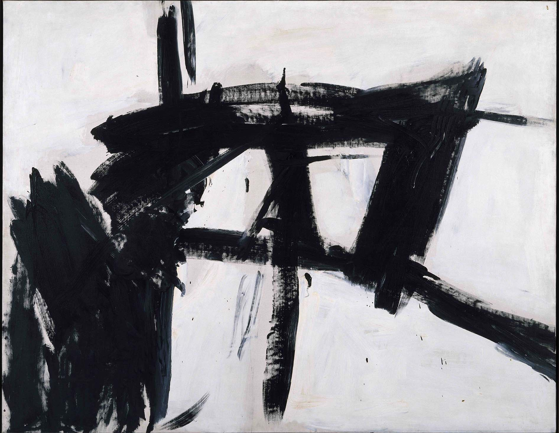 Painting in black and white by Franz Kline, 1955