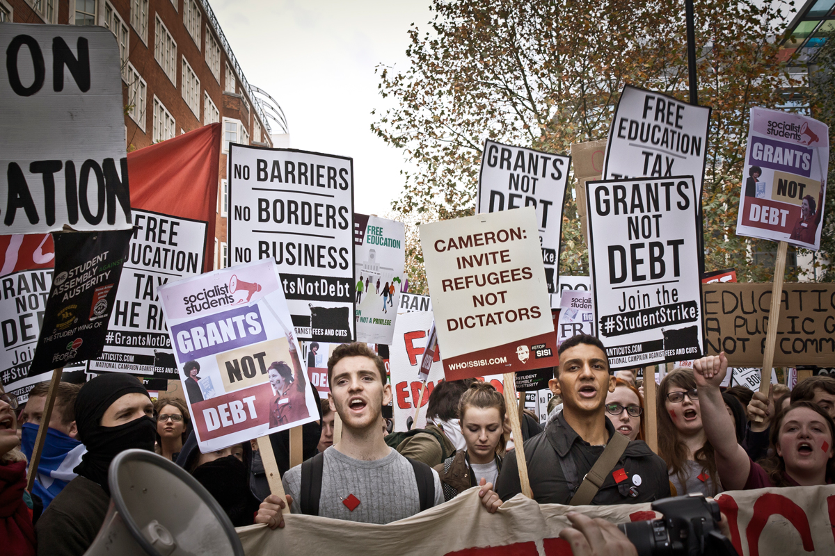 Students protesting against tuition fees and education cuts