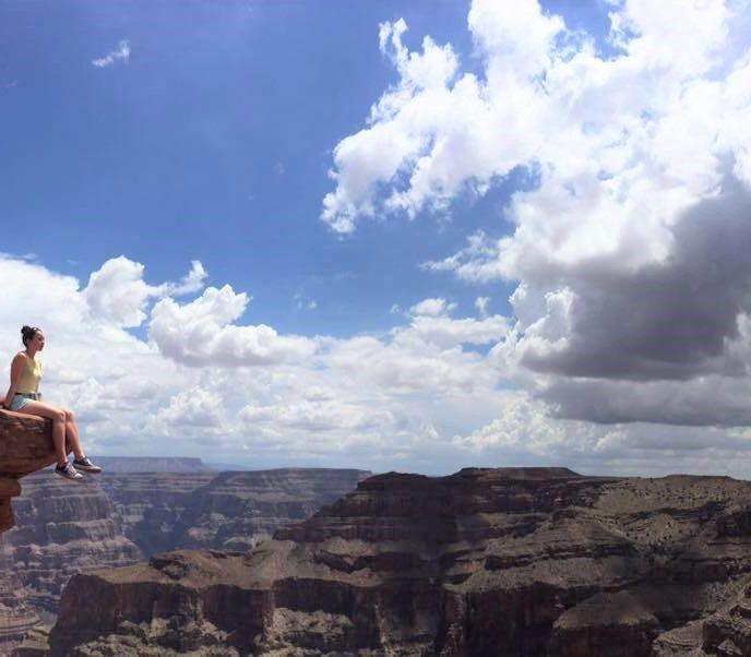 Rachel on rock edge