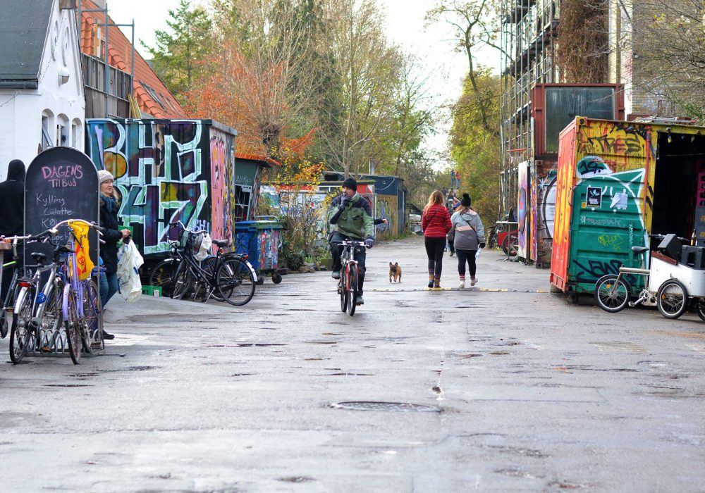 View down one of the streets in Freetown Christiania