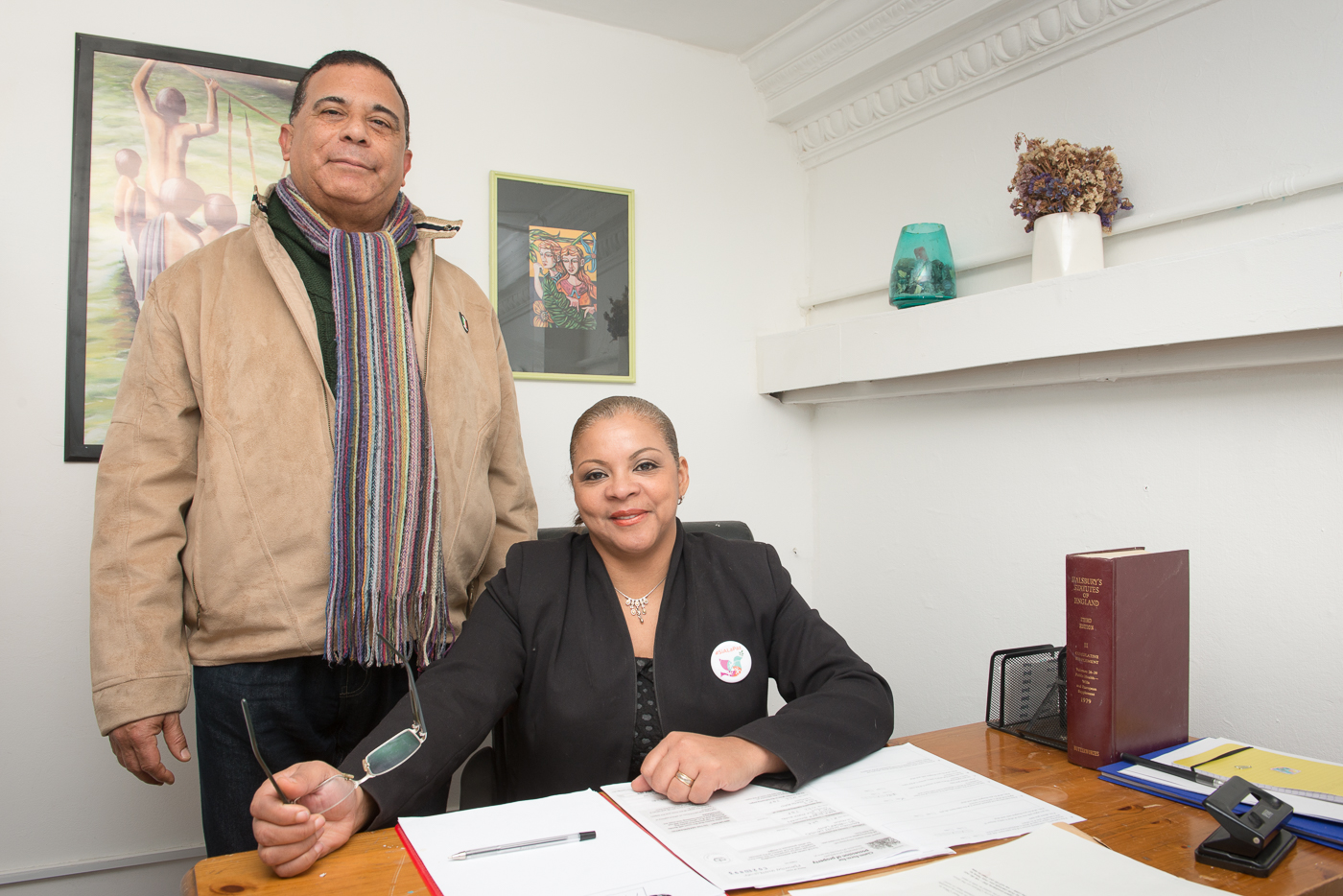 Marta Hinestroza and Pedro Velazquez in their office