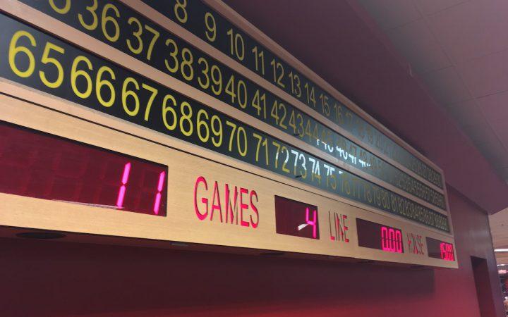 Bingo board at Palace Superbowl and Bingo