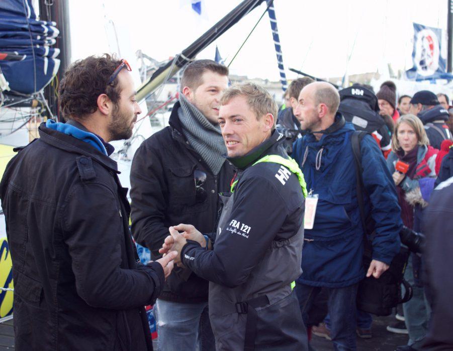 Thomas Ruyant's crew saying their goodbyes