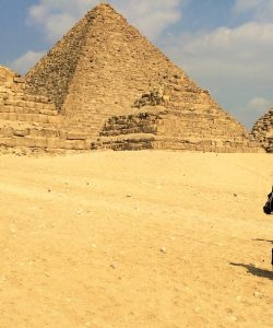 Riding horseback through the pyramids of Giza