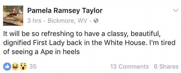 Racist Facebook post of Pamela Ramsey Taylor towards Michelle Obama