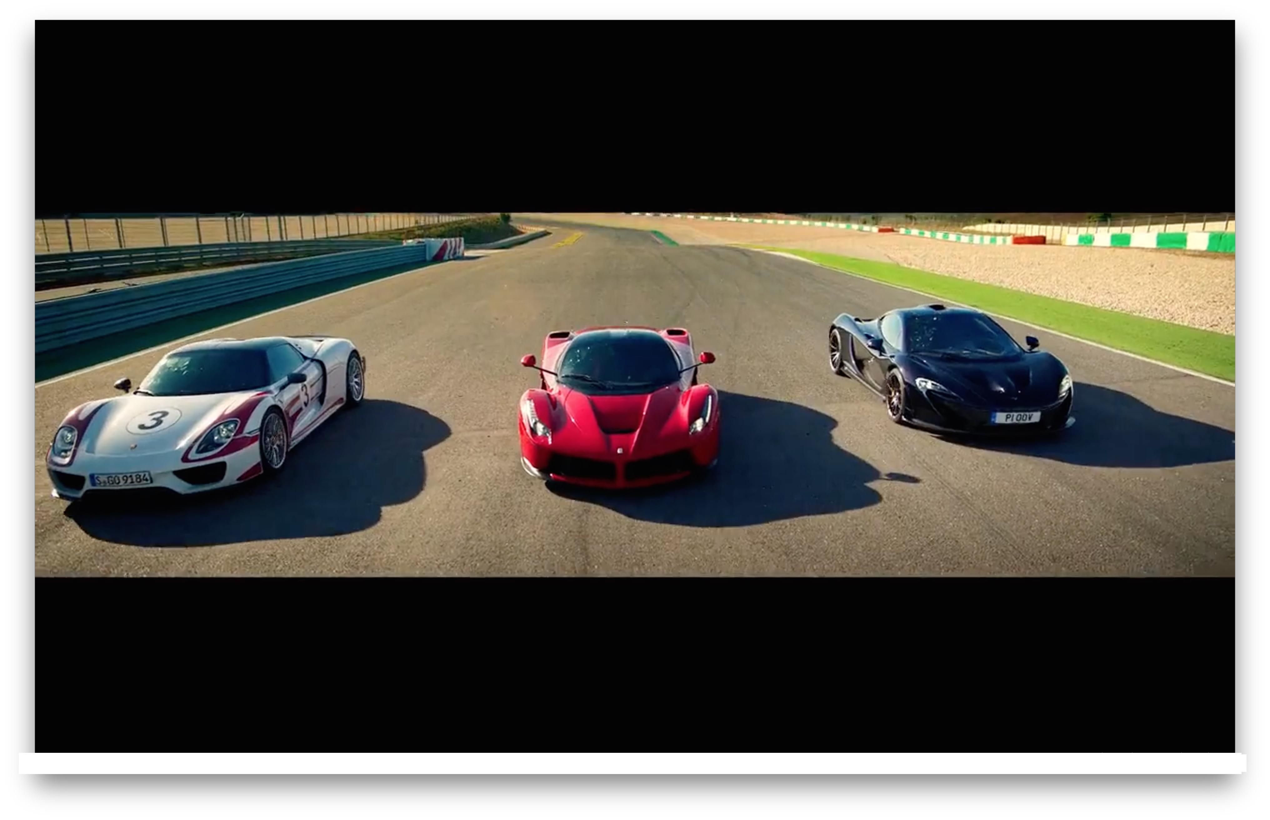 Screen shot of a Porsche, Ferrari and a Maclaren P1