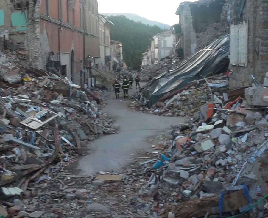 Rubble of a destroyed town