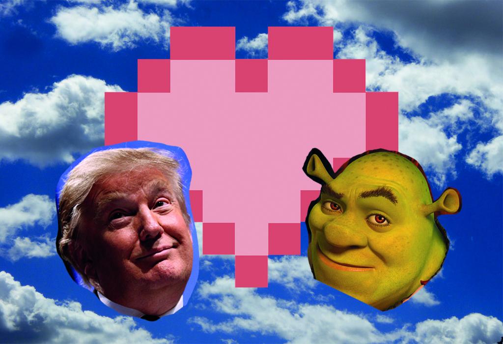 Depiction of Donald Trump and Shrek fan fiction