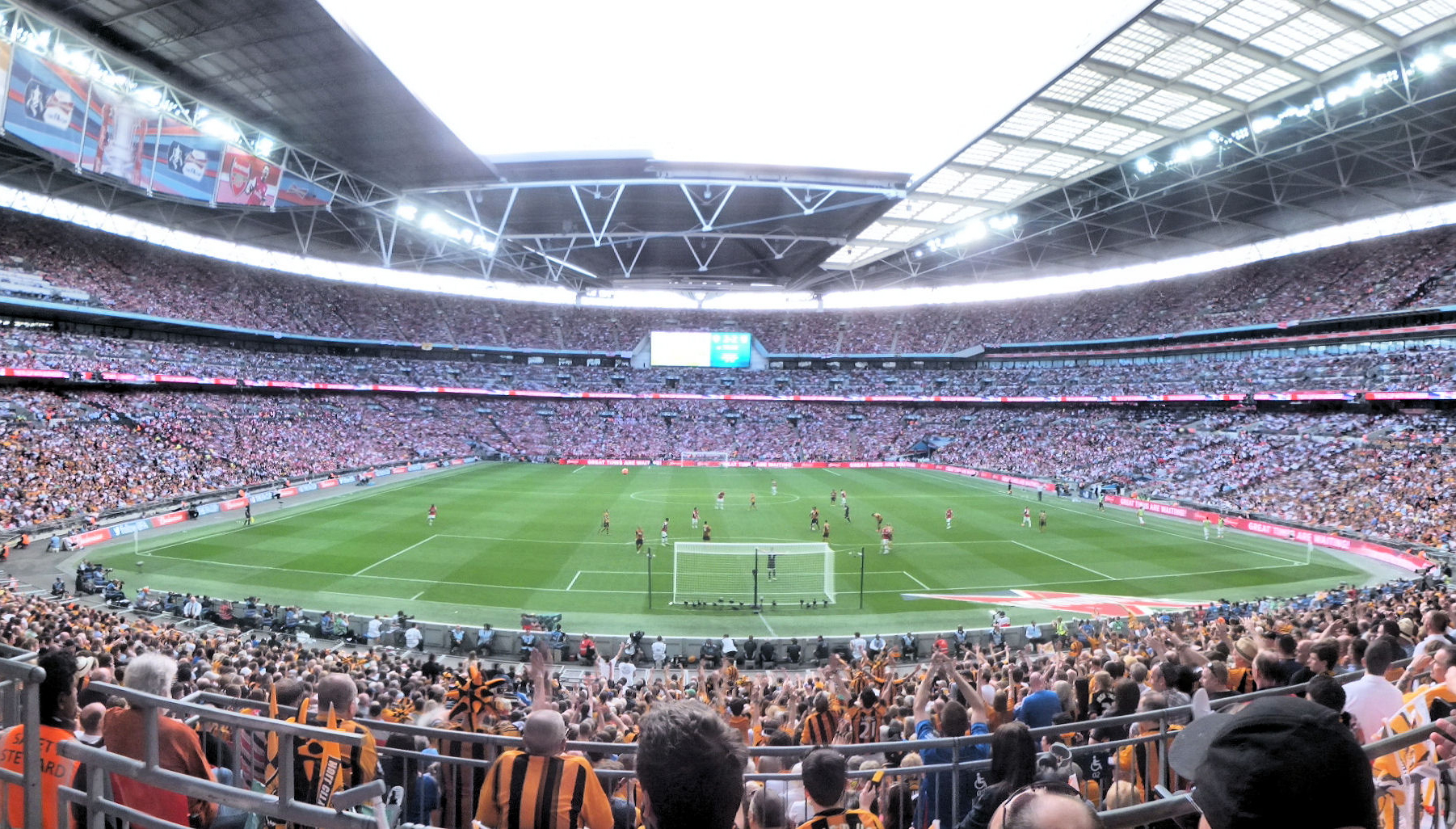 A view of the 2014 FA Cup Final at Wembley from behind the goal.