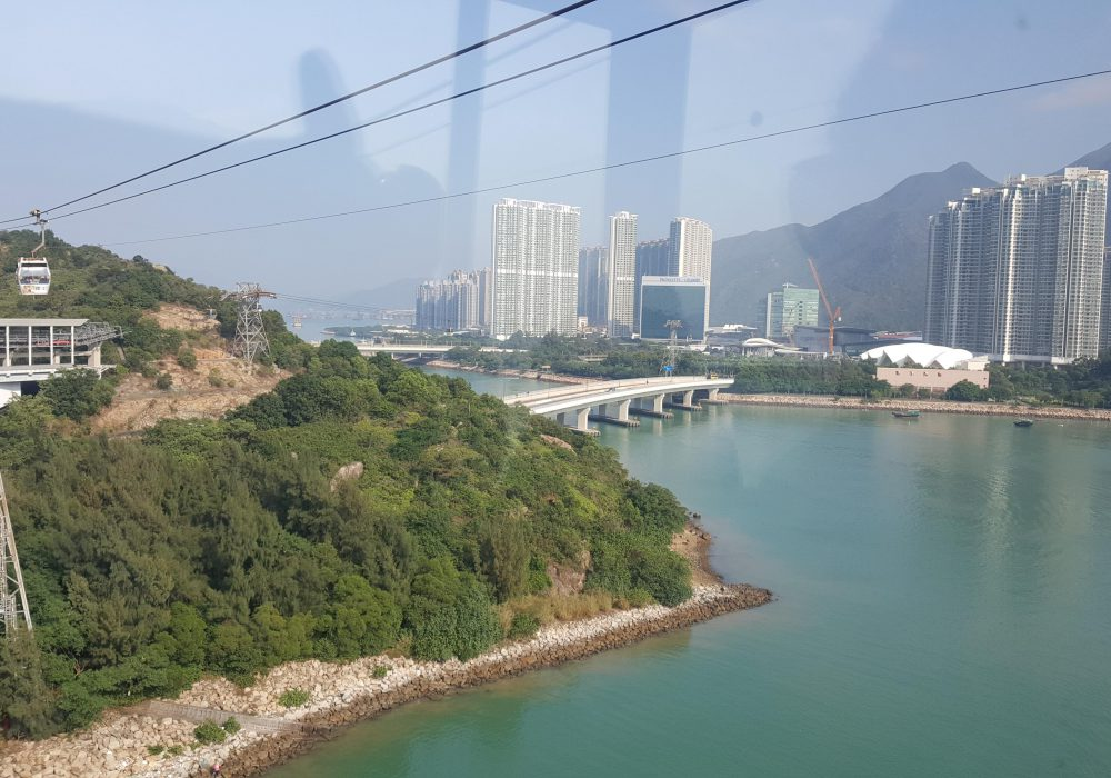 The start of Ngong Ping 360 and a birds eye view of Hong kong from above