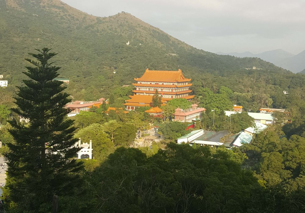 Po Lin Monastery Buddhist temple can be seen in near the distance