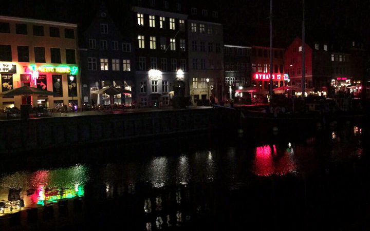 Nyhavn harbour at night