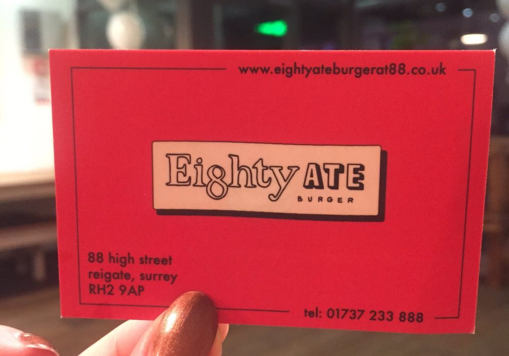 eighty ate burger business card