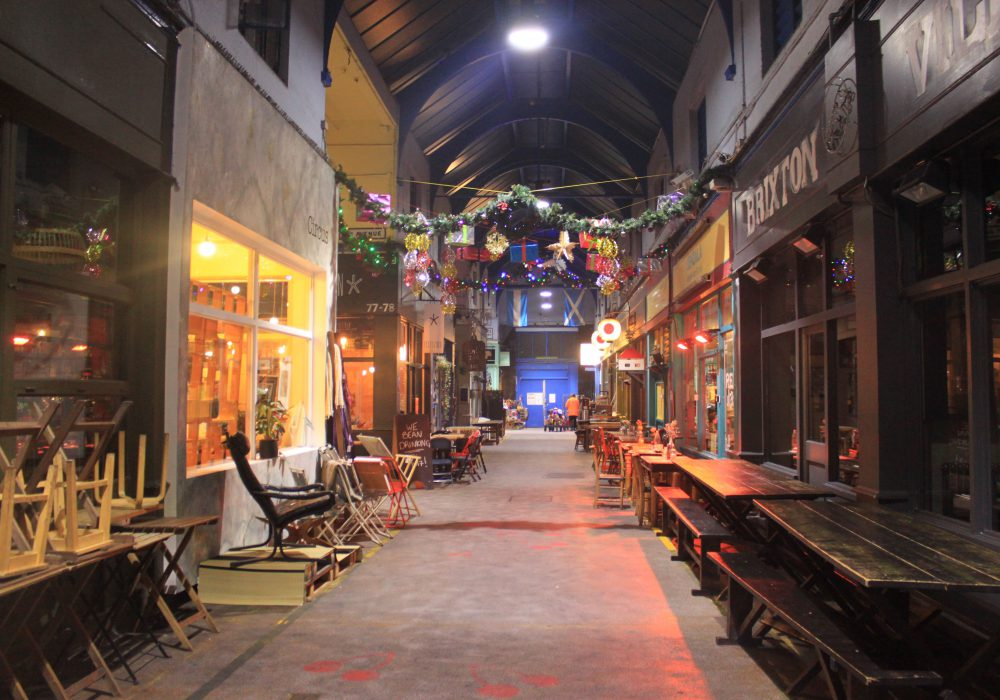 Interior shot of an arcade in Brixton