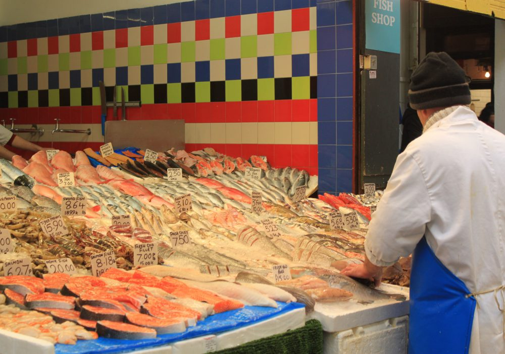 Fish on display at a Brixton fishmonger's shop