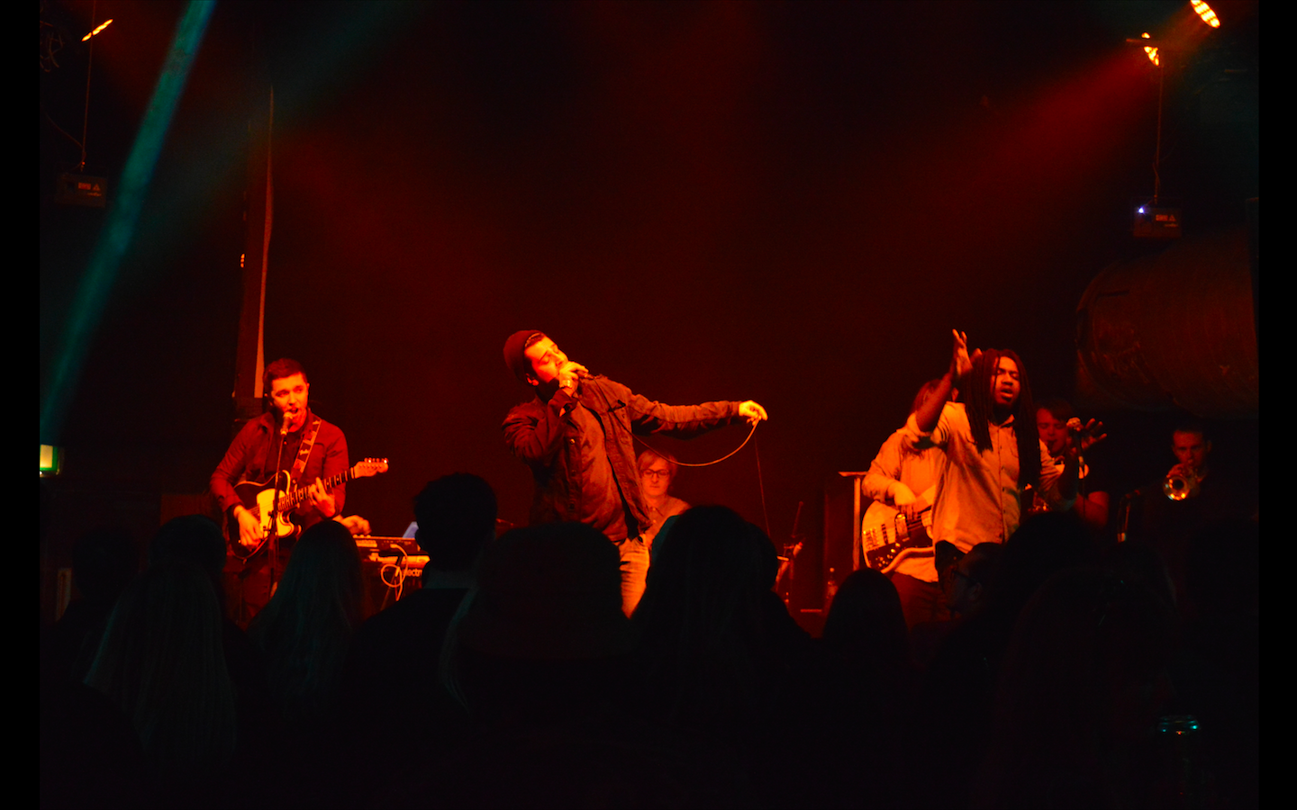 A band on stage at a concert