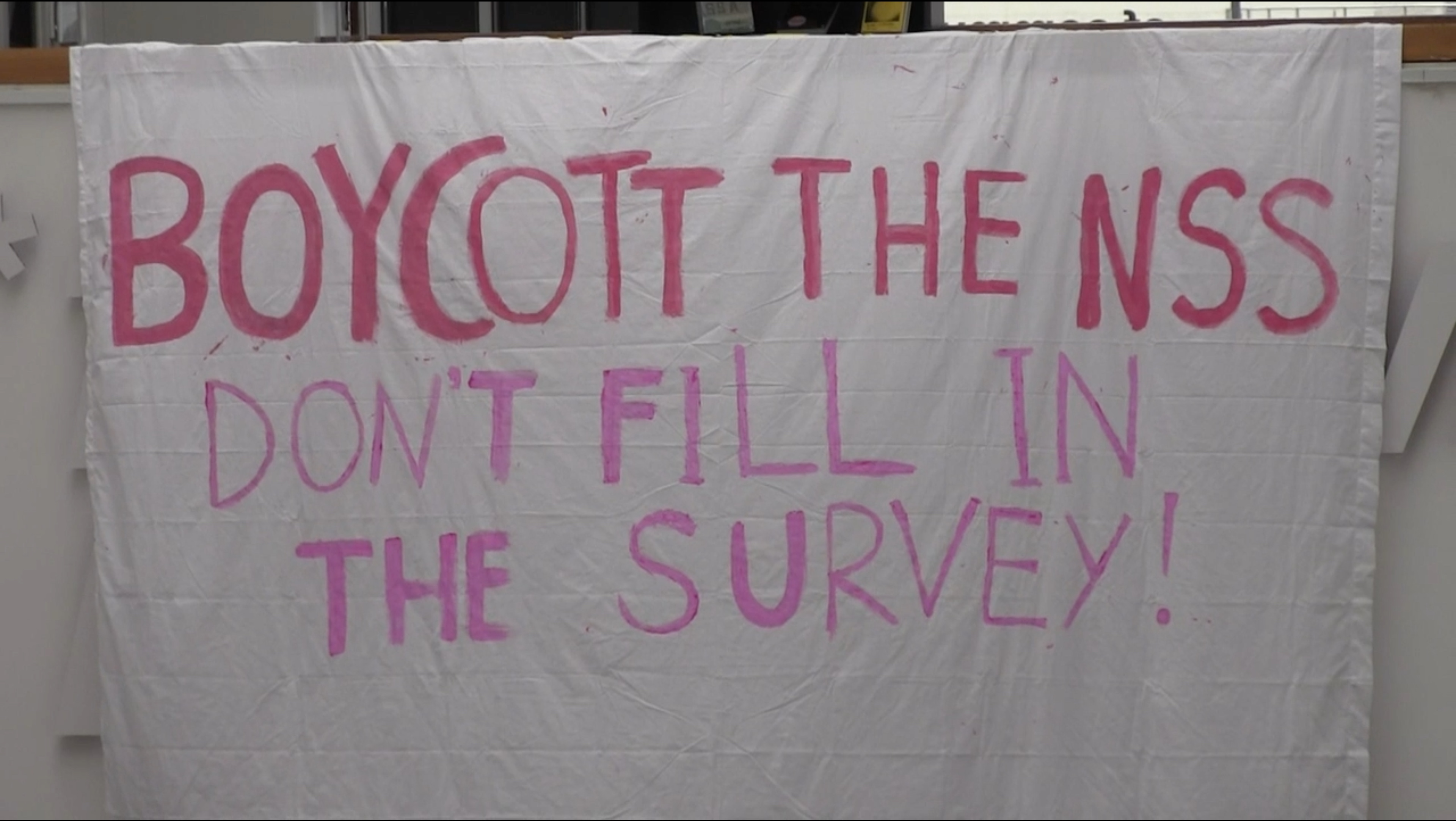 Banner calling on students to Boycott the National Student Survey