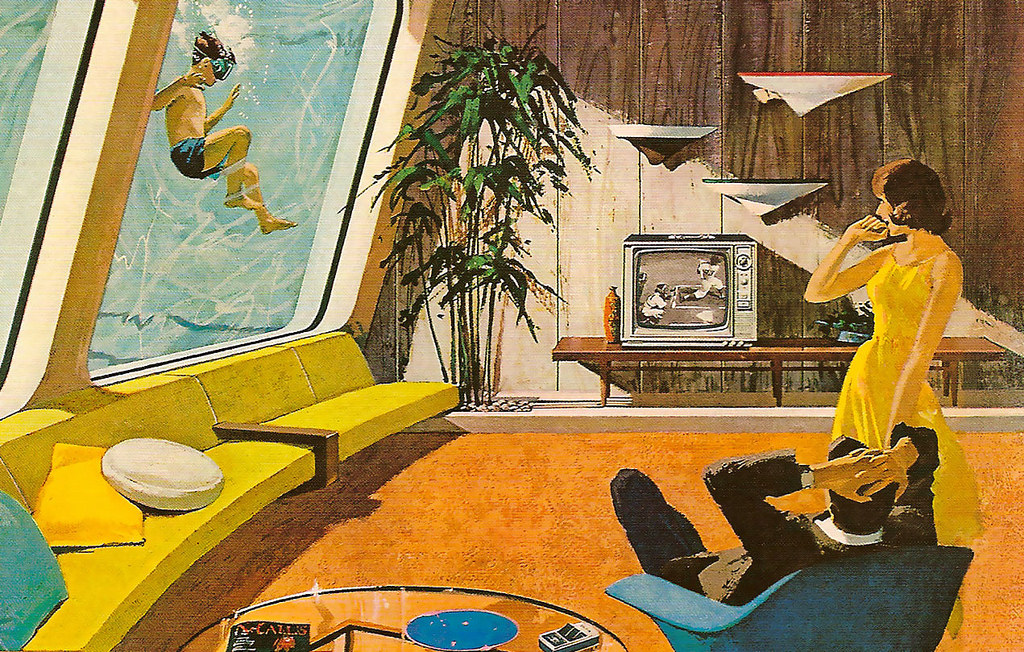 Drawing of the 1961 idea of a futuristic home.