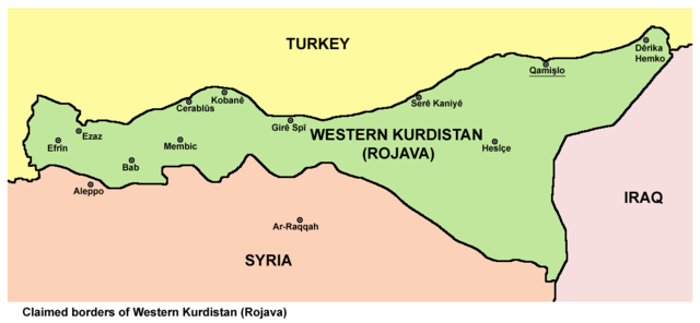 Map of the area in northern Syria known as Rojava