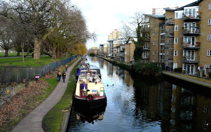 victoria park canal with narrowboats
