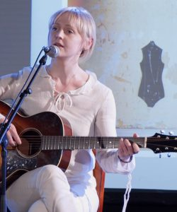 Laura Marling performing at a press conference for her album 'Semper Femina'