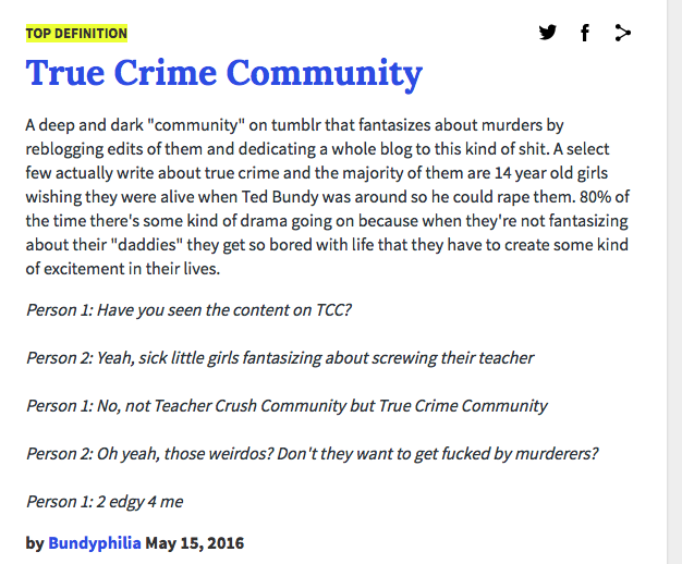 Definition of True Crime Community
