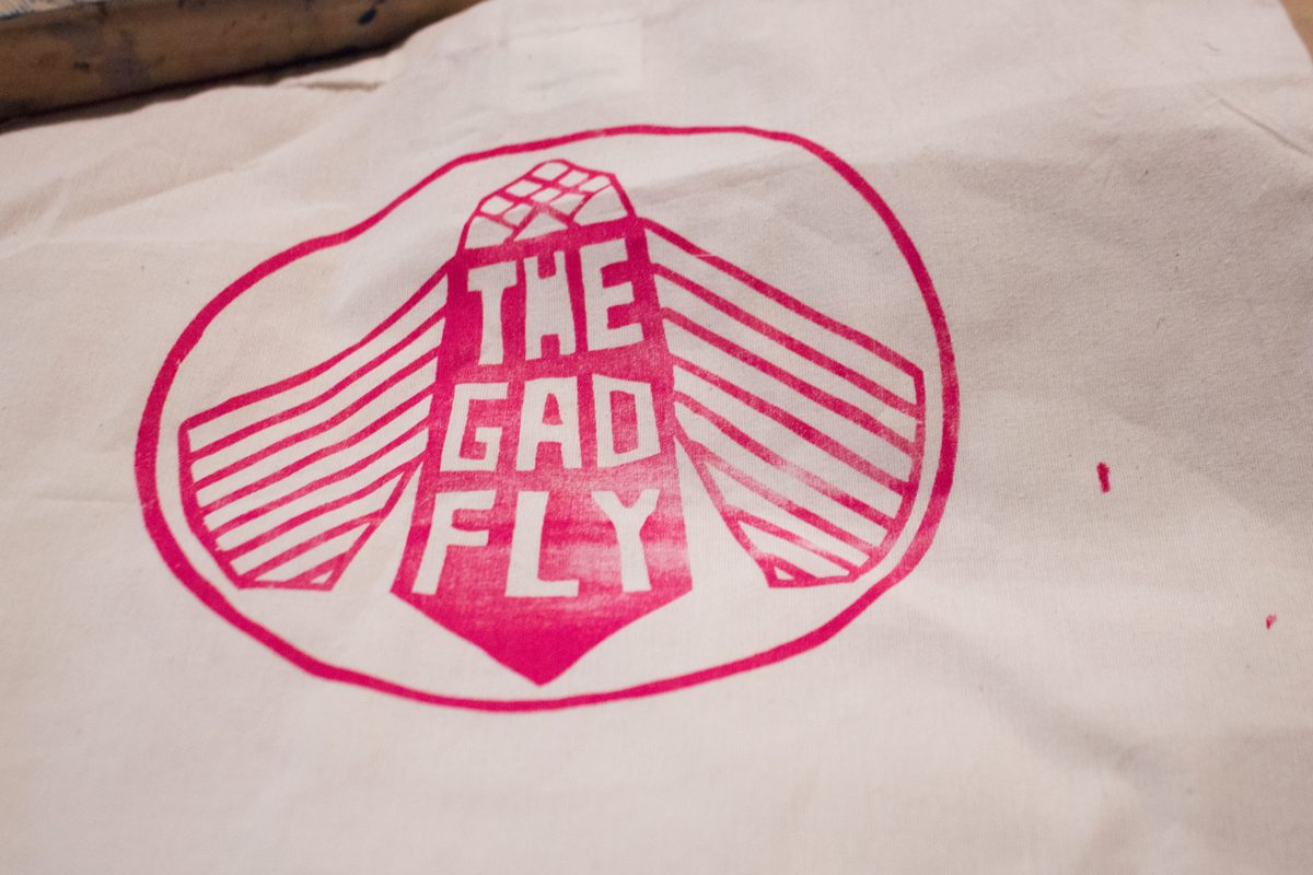 the gad fly logo screenprinted on tote bag