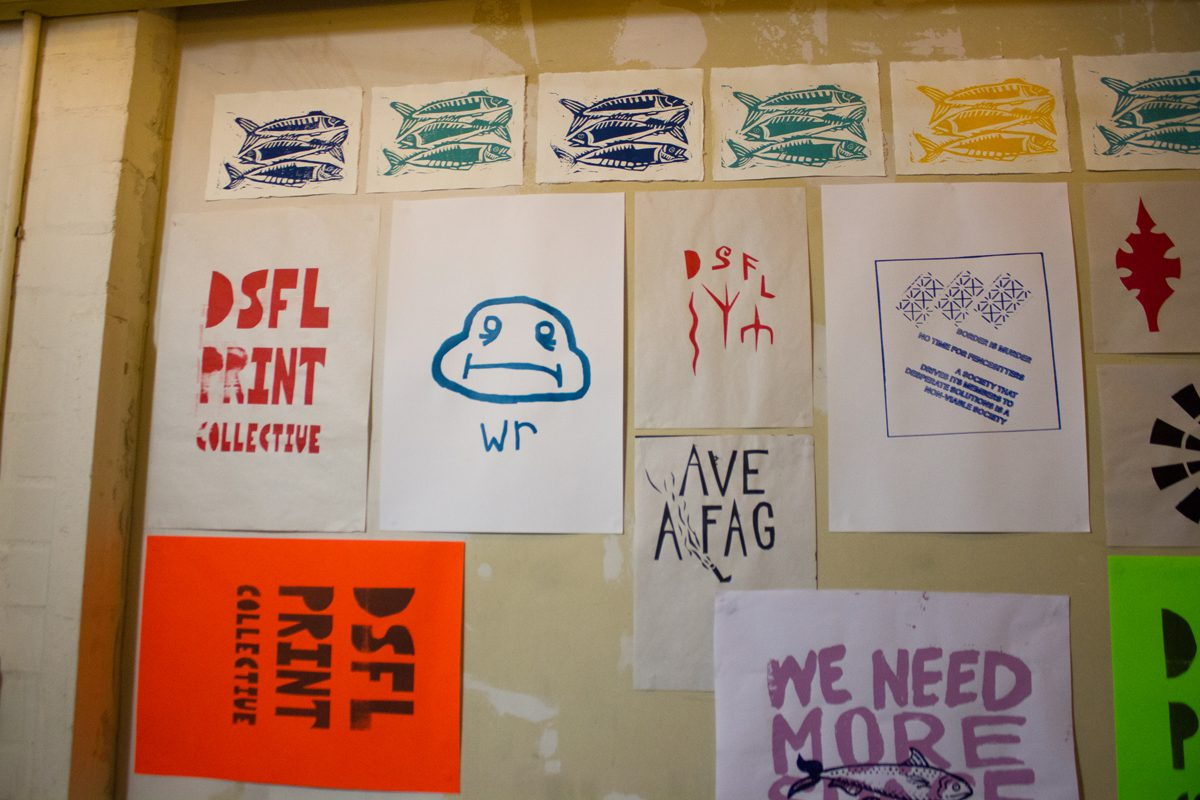screen printed artwork on diy space for london's print collective's wall