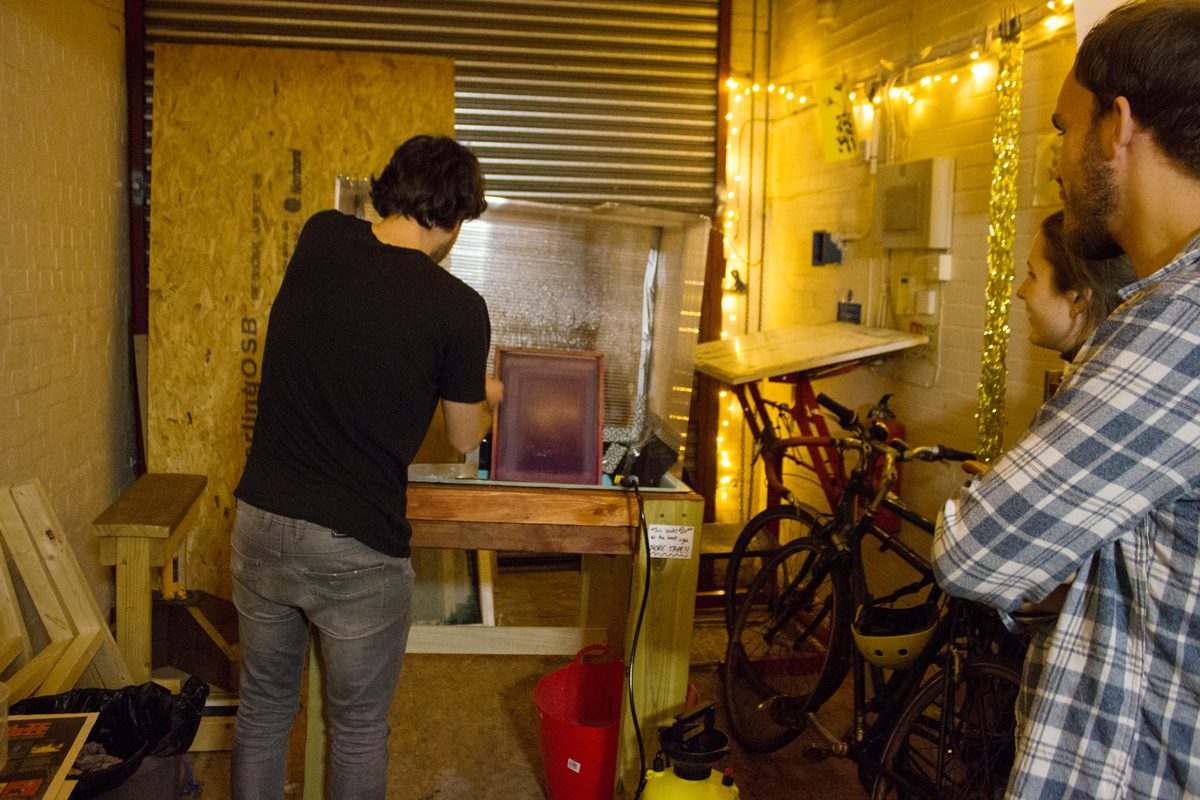 george from diysfl setting up screen printing