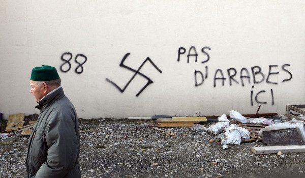 Nazi slogans on the Great Mosque of Saint-Etienne