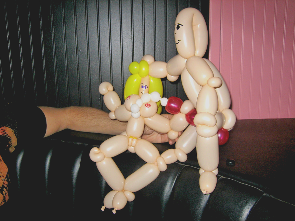 Balloons made into naked people