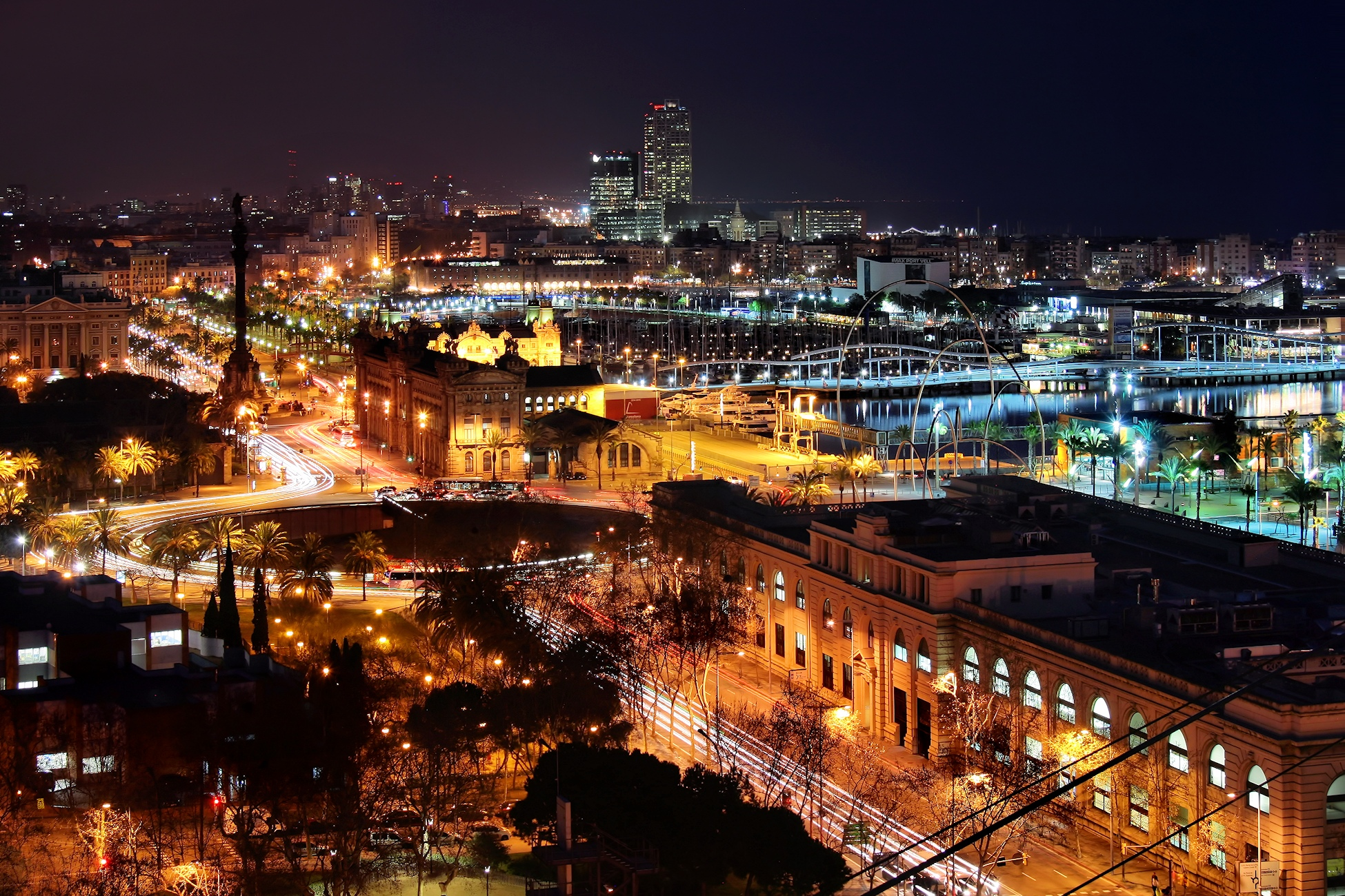 Wide shot of Barcelona at night