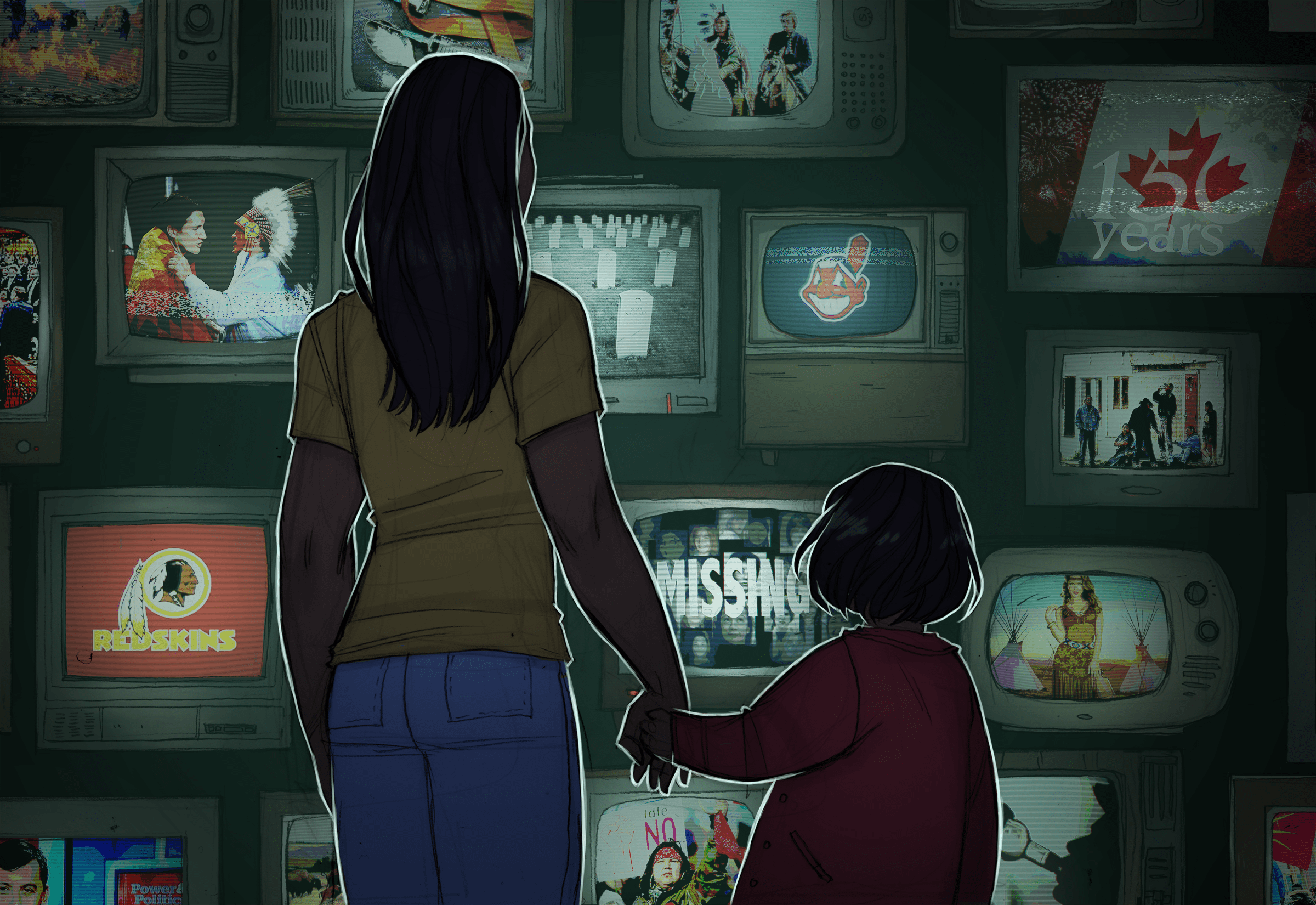 Illustration of two girls outside a TV shop