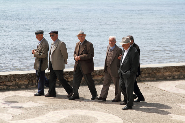 Locals walking on the seafront in Saranda, Albany, Europe.
