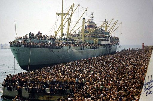 Albanian migrants arriving in Bari, Italy, on the ship Vlora on the 8th of August 1991