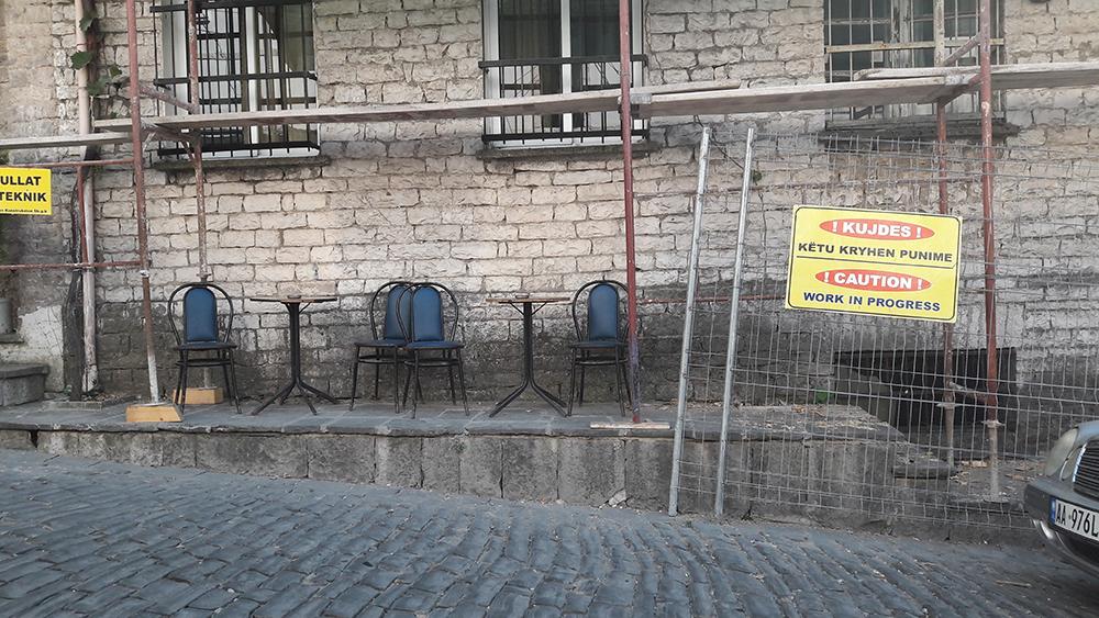 Scaffolding in Gjirokastër, southern Albania, 2017