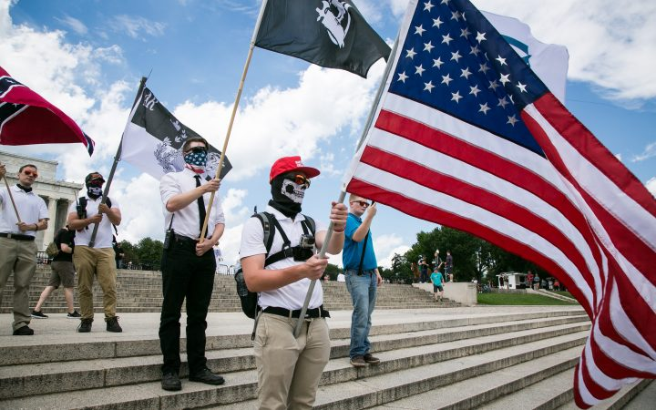 White supremacist with flags
